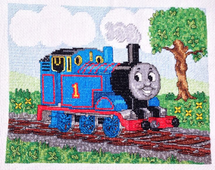 Thomas the Train and Friends Tank Engine Cross Stitch, Needlework Finished Design, Unframed Children's Boys Wall Decor  by EverydayWomenJewelry on Etsy https://www.etsy.com/listing/225969701/thomas-the-train-and-friends-tank-engine