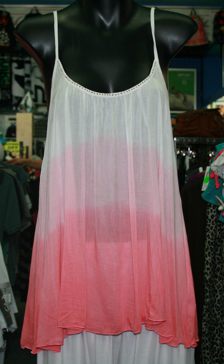 "Byron Bay clothing label,Lady WATEGO www.ladywatego.com  ""Rosie"" top in watermelon pink ...dip dyed and beaded by hand"