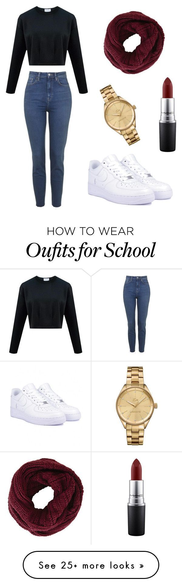 """School look"" by maryjufer on Polyvore featuring NIKE, BCBGMAXAZRIA, Lacoste and MAC Cosmetics"