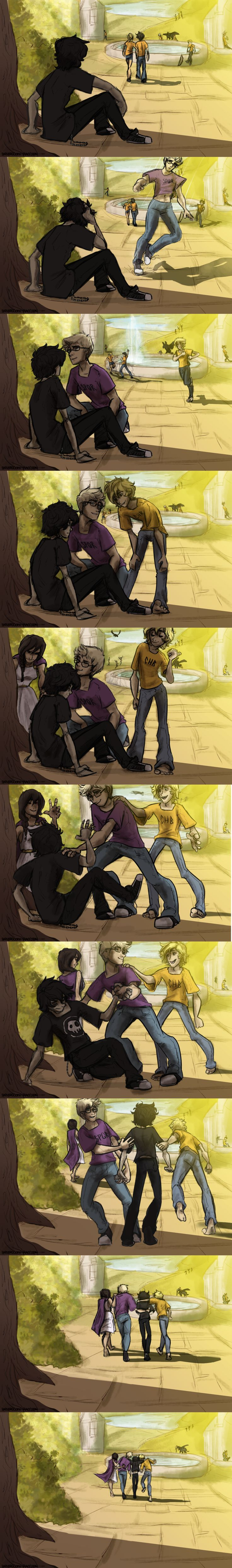 Nico di Angelo : An Exception by sjsaberfan look Percy's blowing up the fountain in the background loL!