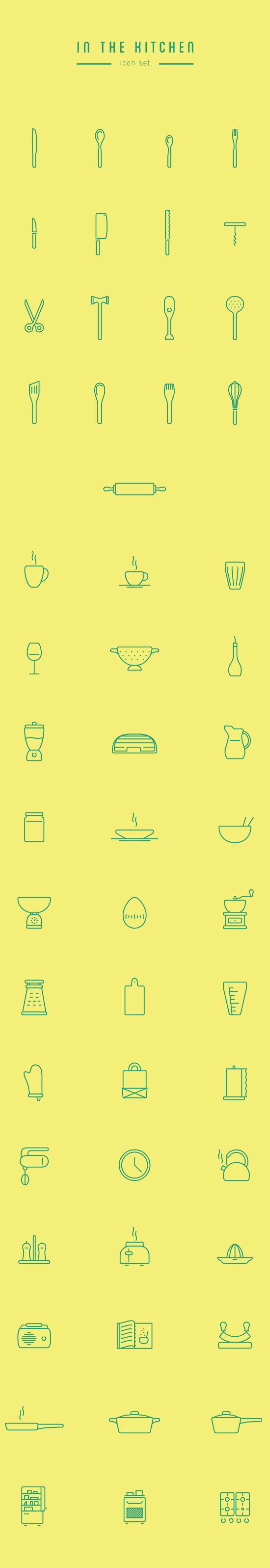 In The Kitchen – Free Icon Set on Behance