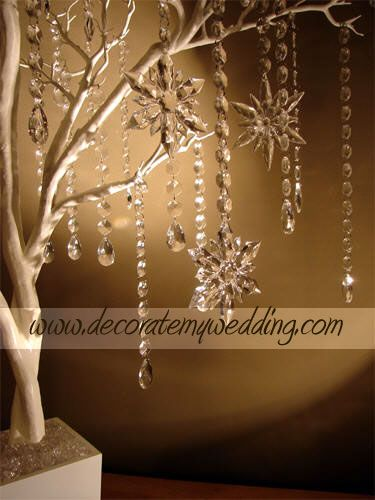 """CRYSTAL SNOWFLAKES FOR YOUR WEDDING TREE Great addition to your crystal snowflake wedding theme. Fantastic sparkle! Crystal C-L-E-A-R. Assorted shapes and sizes. Approximately 4"""" diameter."""