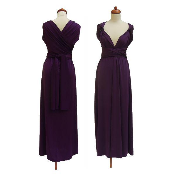 Dlouhé fialové šaty. Variabilní šaty Convertibles jsou ideální na svatbu, maturitní ples, společenské akce i denní nošení. Uvažte si je jakkoliv budete chtít a pokaždé v nich můžete vypadat jinak.