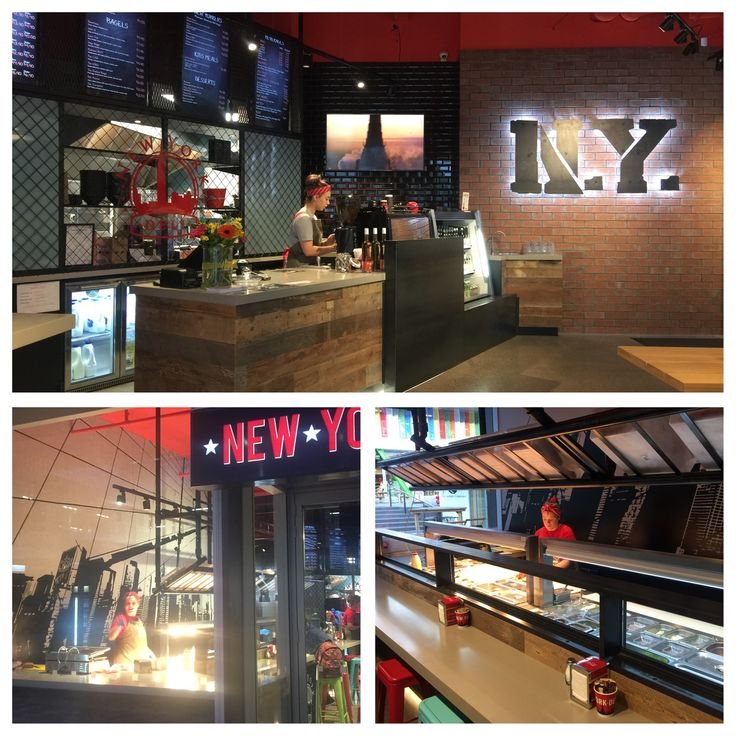 New York Deli in Christchurch New Zealand. Combining steel, mesh, brick and concrete. Large stencilled image on the concrete wall is one of the focal points.