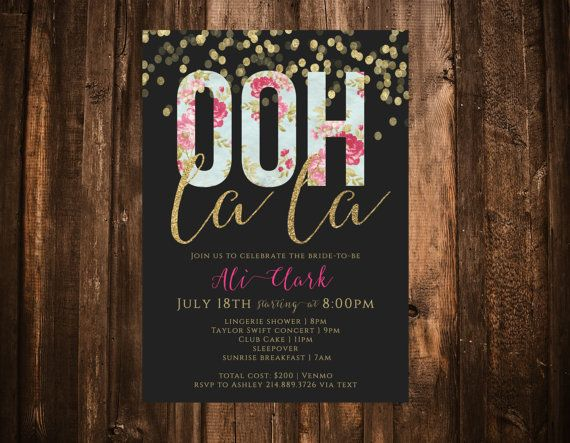 Ooh La La Bachelorette Invitation Gold Glitter & by papernpeonies