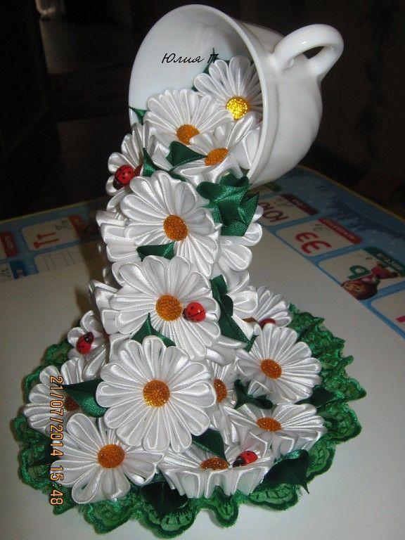 Одноклассники Ribbon Flower Чашки поделки Украшение