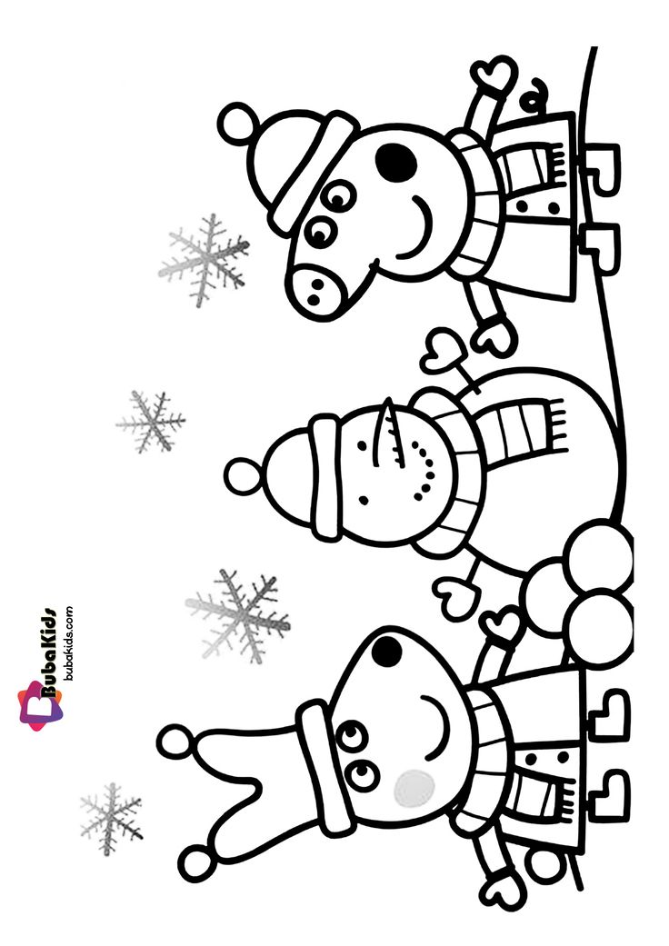 Peppa Pig Happy Christmas Coloring Page