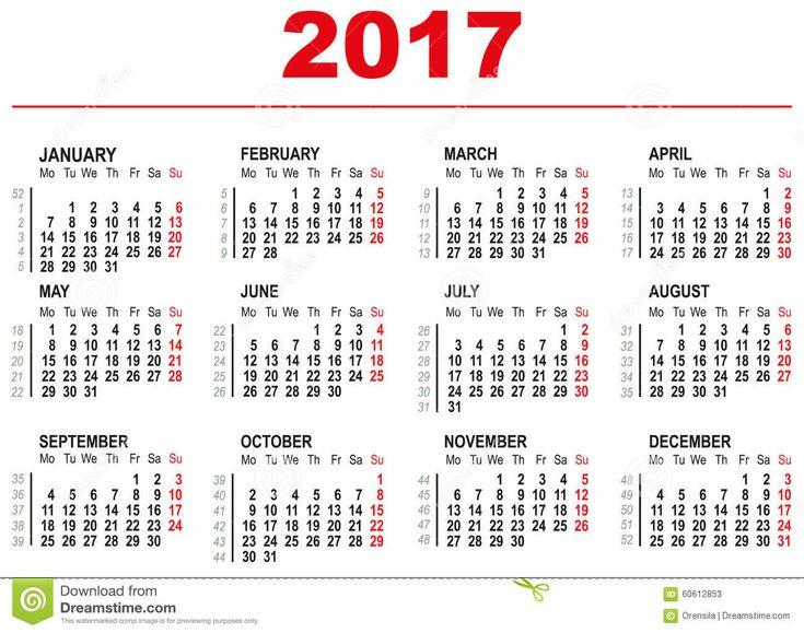 Plantilla De 2017 Calendarios Semanas Horizontales Primer Día Lunes Ilustración del Vector - Imagen: 60612853