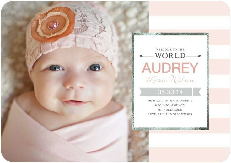 Sweet pink baby annoucement on Tiny Prints.