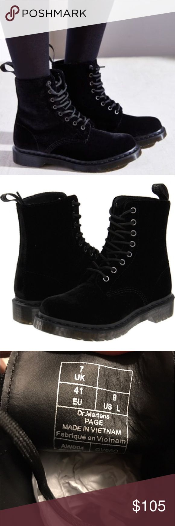 Dr Martens Page Velvet Black Boots NEW WITH BOX. women's size 9. Dr. Martens ZE YOU VELVET BLACK Dr. Martens Shoes