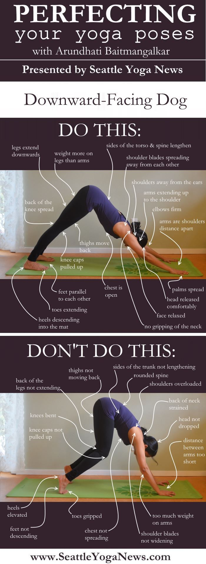 Struggling with Downward-Facing Dog? Take a look at this Downward-Facing Dog guide that visually explains what to do and what not to do in this yoga pose.