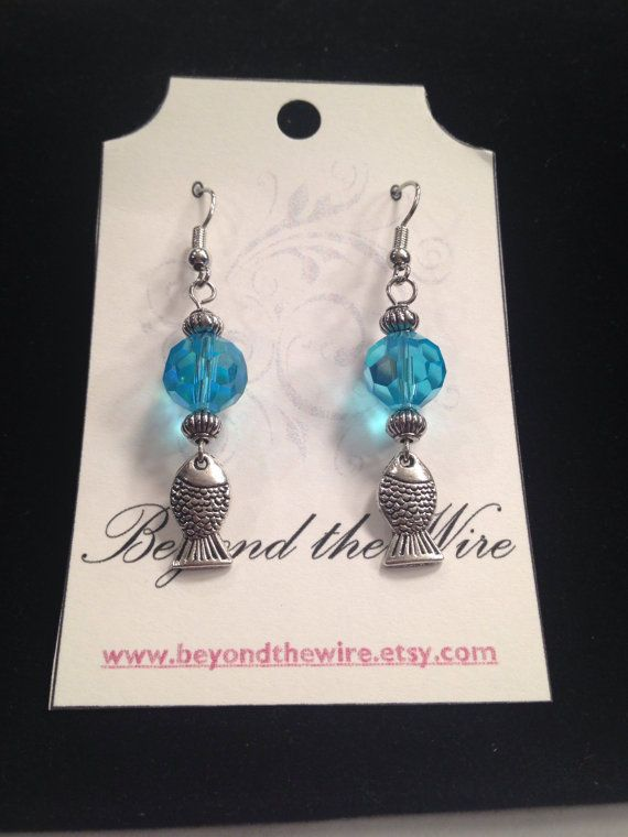 Blue Crystal and Metal Fish Earrings/ Dangle/ by BeyondtheWire