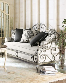 """""""Catherine"""" Daybed Wrought iron daybed with cushion, pillows, and bolsters included, as shown. Bed ships fully assembled. 80""""W x 33""""D x 47""""T. USA made."""