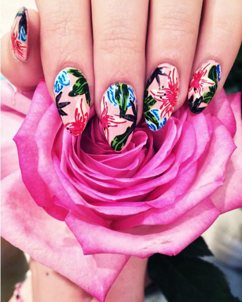 Floral fingertips from WAH nails at Beauty In Wonderland in Fenwick.