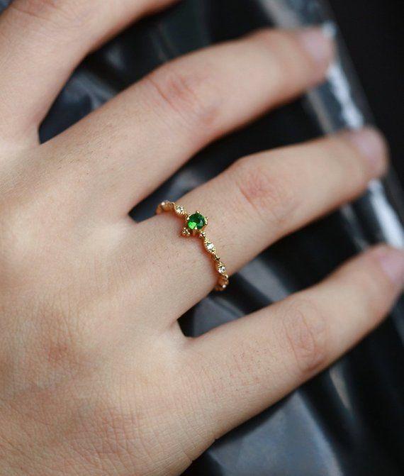 Emerald Engagement Ring women yellow Gold vintage round cut Art Deco unique diamond wedding ring jew