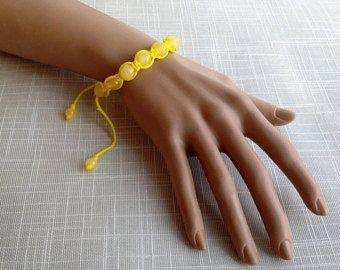 Shamballa natural amber bracelet, yellow rope, matt color beads, man & women healing beaded gemstone, knot to adjust length الكهرمان 天然琥珀