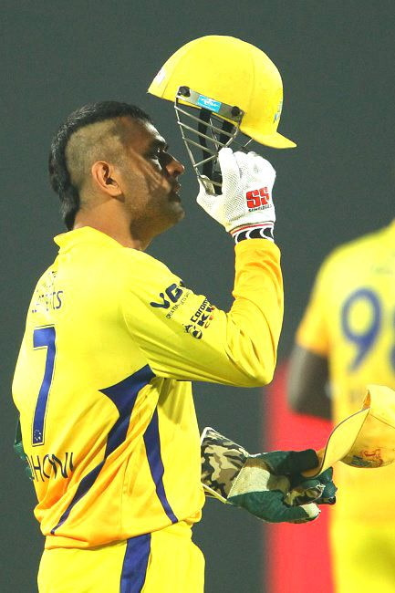Chennai Super Kings' and Indian skipper MS Dhoni sporting a 'Mohawk' styled look. #Cricket #Fashion #Style