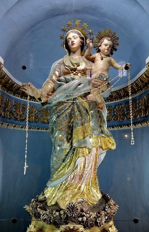 A statue of Our Lady of the Rosary in the church of Santa Marija Assunta, also know as the Mosta dome, in Mosta, Malta.