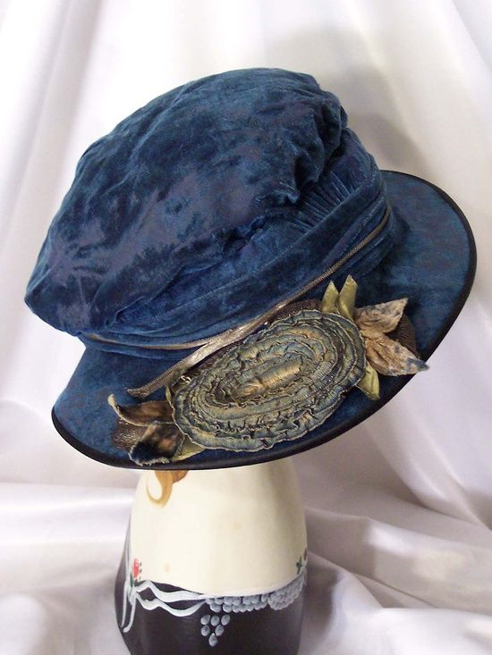 Antique Blue Velvet Hat - 1910's.