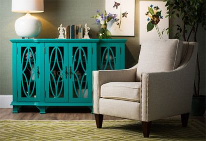 love the turquoise painted sideboard