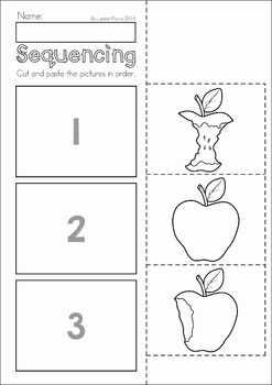 Autumn / Fall Preschool No Prep Worksheets & Activities. Eating an apple sequencing activity.