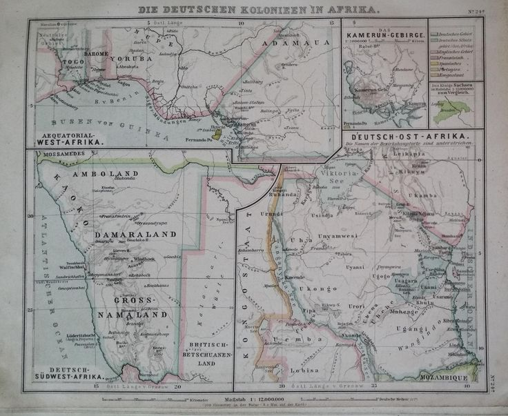 German colonies in Africa (1894). Current-day Togo, Cameroon, Tanzania and Namibia. From a German atlas (Debes' Schul-Atlas)