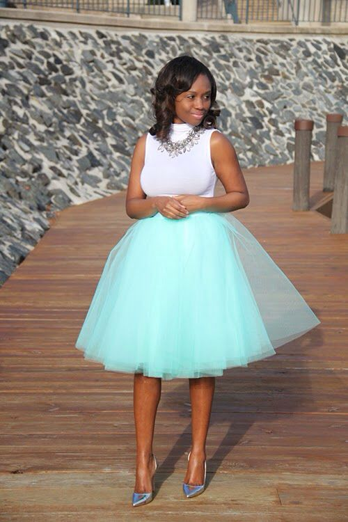 Space 46 mint tulle skirt, blogger prissysavvy.com, statement necklace, white…