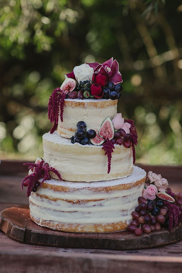 Semi naked wedding cake! Burgundy and white, fresh fruit. Love love love