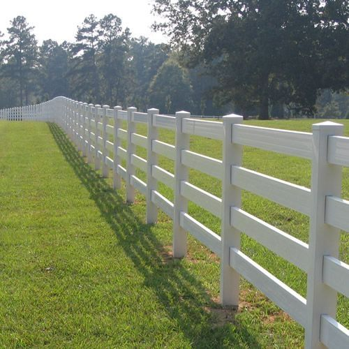 Beautiful White 4 Rail Ranch Fence By Mossy Oak Fence