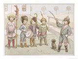 German Children Play Die Wacht Am Rhein Impressão giclée por Fedor Flinzer