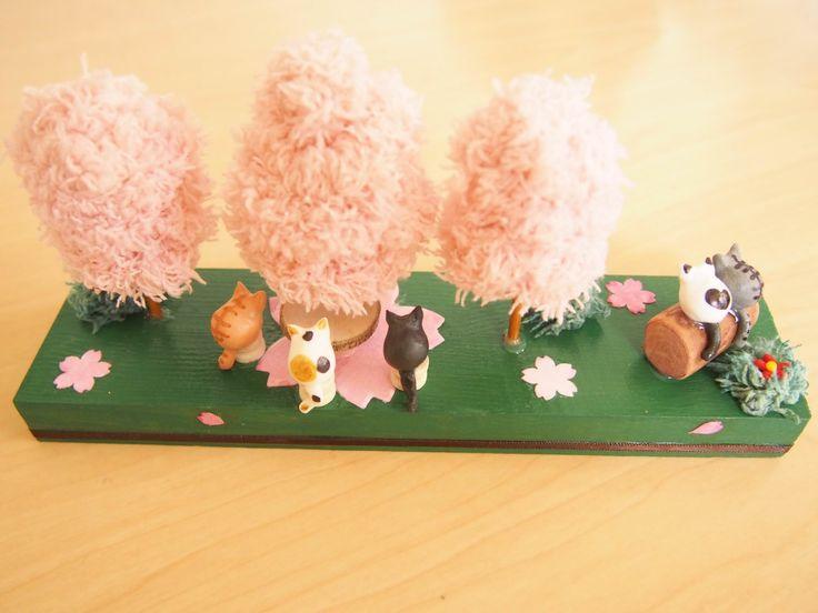 Cats enjoy Sakura Cherry-blossom  Viewing Display