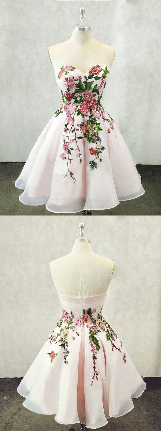 Tulle Light Pink Short Homecoming Dress, Handmade Flower Prom Dress