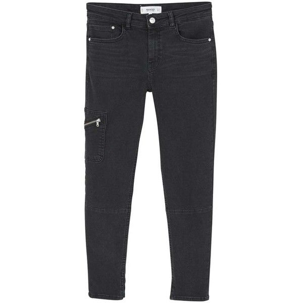 MANGO Crop skinny Isa jeans ($60) ❤ liked on Polyvore featuring jeans, mid rise jeans, cropped skinny jeans, button-fly jeans, dark gray skinny jeans and zipper skinny jeans