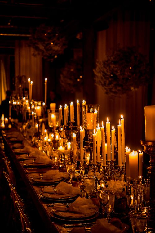 Wow! Stunning candlelit reception table, photo by Daniel Kudish of Davina+Daniel | via junebugweddings.com