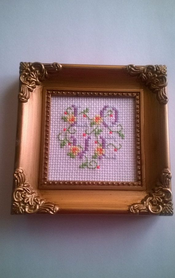 LOVE Completed Cross Stitch Framed Decor by Reflectionsofk on Etsy