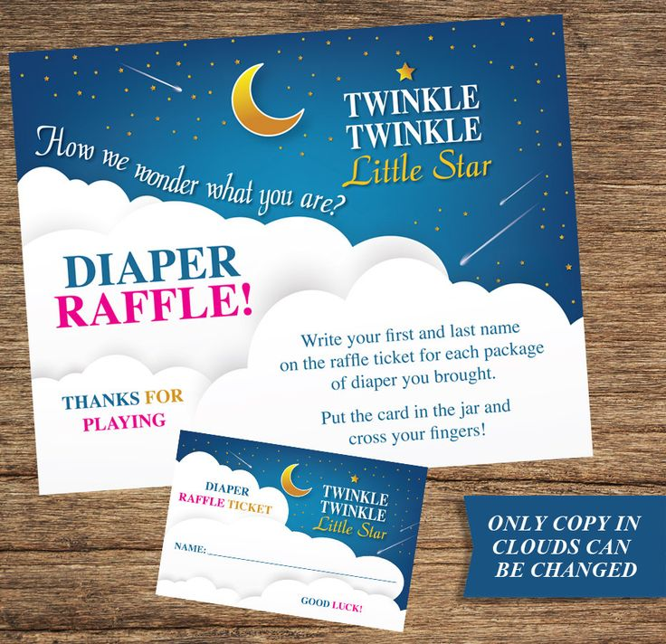 BAB-01: Gender Reveal Raffle Sign and Raffle Tickets Twinkle Twinkle Little Star by CreativeFirstImpress on Etsy