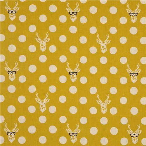 echino canvas fabric Buck stag with glasses yellow 2