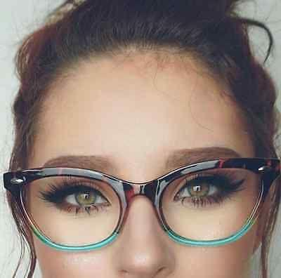 """Cat Eye Vintage Retro """"Ombre"""" Women Eyeglasses Blue Green Bottom Tortoise Top"""