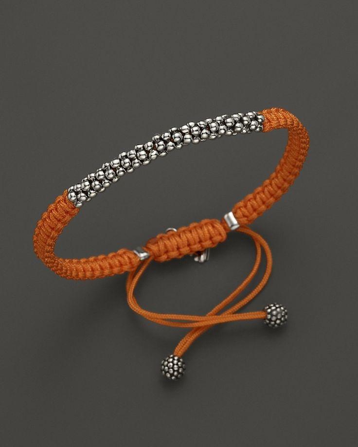 Elegantes Makramee Armband in Orange und mit silbernen Kugeln