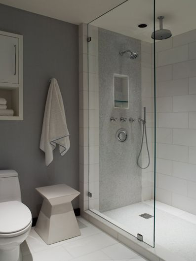 Walk-in shower idea for Bathrooms.  Just need a seat in mine..