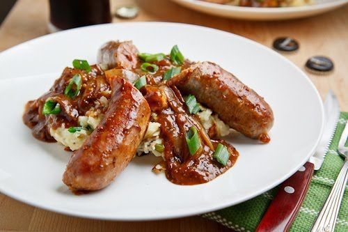 Bangers and Colcannon with Guinness Onion Gravy - I could leave out the bacon for a slightly less decadent version and use half the gravy