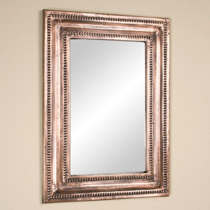 rectangular lightly hammered copper mirror antique copper