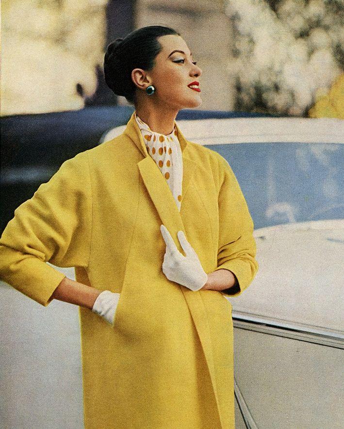 50s coat yellow print ad model magazine vintage fashion style For Worumbo Wool, 1956.