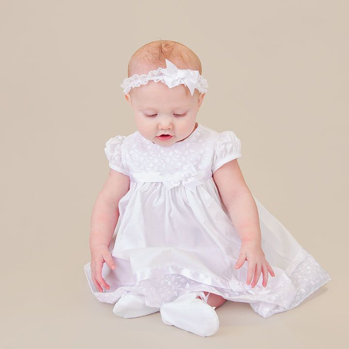 Ainsley Cotton Dress for Baby Girls Christening by OneSmallChild