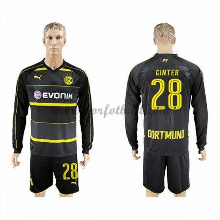 Billige Fotballdrakter BVB Borussia Dortmund 2016-17 Ginter 28 Borte Draktsett Langermet