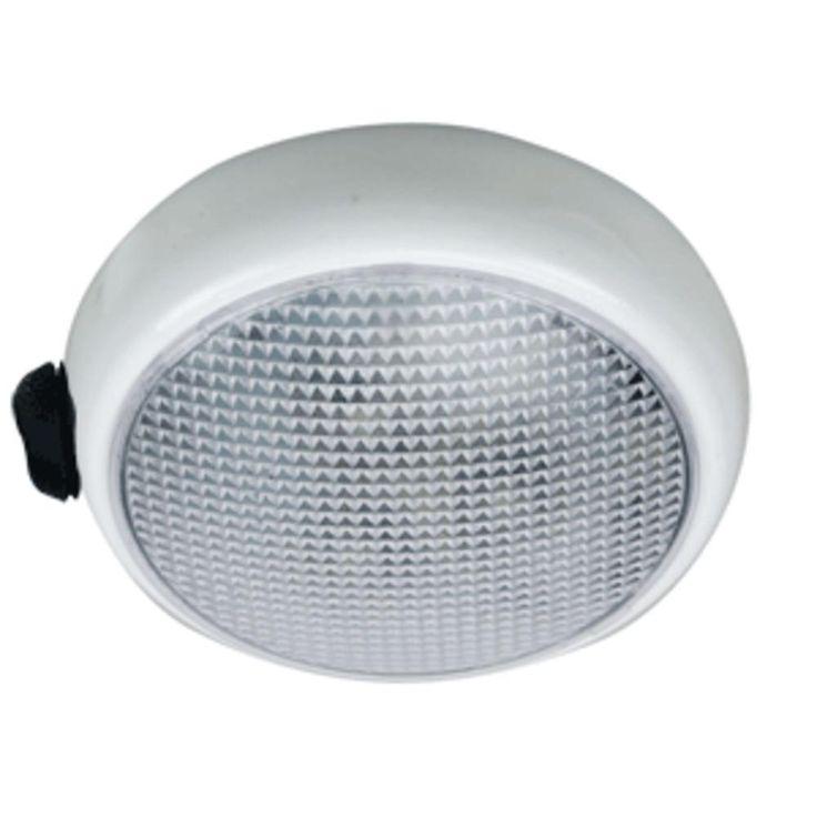 Perko Round Surface Mount LED Dome Light - White Powder Coat - w/ Switch