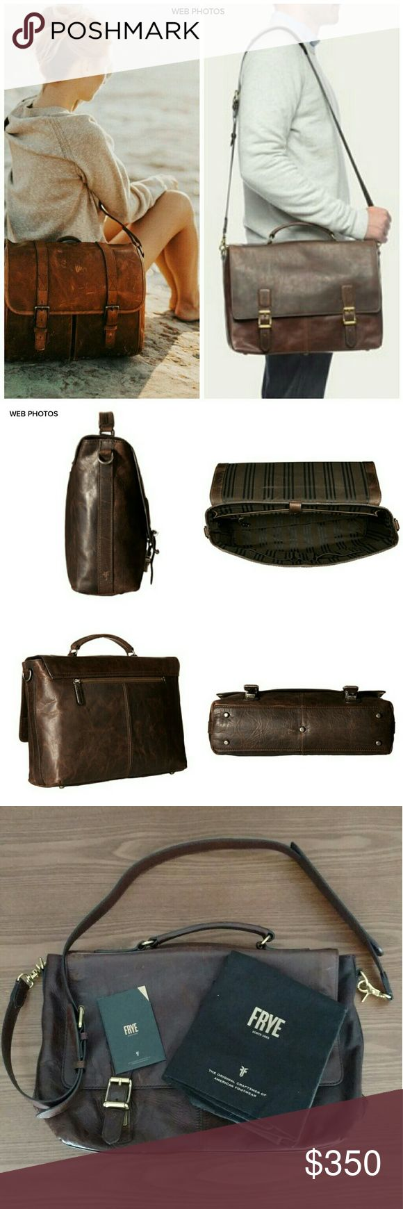 "FRYE Logan Top Handle Bag Craftsmanship that's full of character. Fashioned from antique pull-up Italian leather with unique high and low tones.  Packed with functionality, this briefcase includes a padded laptop compartment, two electronics pockets and a key ring clip. - Italian leather - Antique metal hardware - 10 3/4"" height - 13"" width - 2"" handle drop - Adjustable strap Carried for appx 2 weeks.  Leather is starting to get broken in.  Has tags, and dustbag.  See pics. Frye Bags"