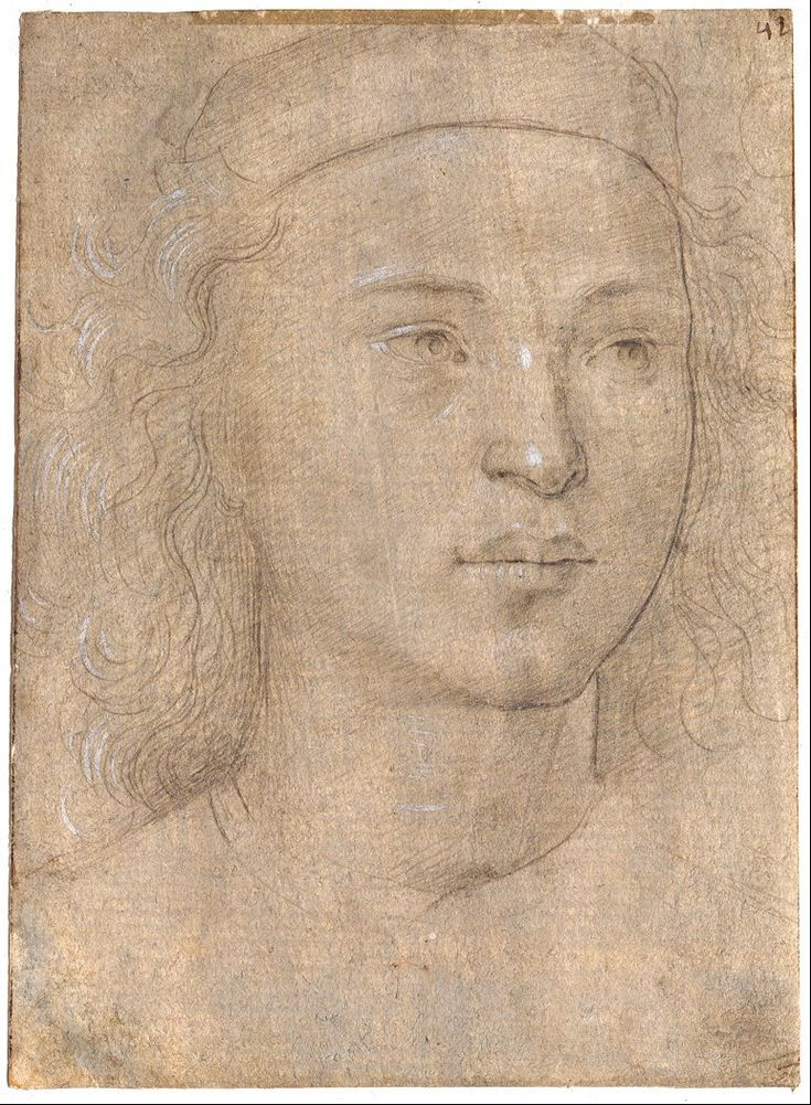Lorenzo di Credi, c.1458-1537, Italian, Portrait of a Boy, Silverpoint, heightened with opaque white, on grounded paper dyed in a brownish tone, 19 x 13.9 cm. Museum Kunstpalast, Düsseldorf. High Renaissance.