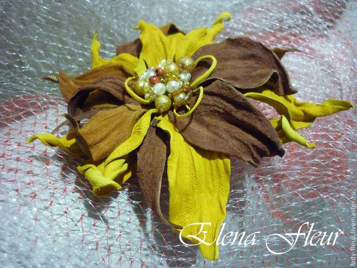 """Купить Заколка-брошь """"Медовый щербет"""" - желтый, коричневый, брошь ручной работы, брошь цветок"""