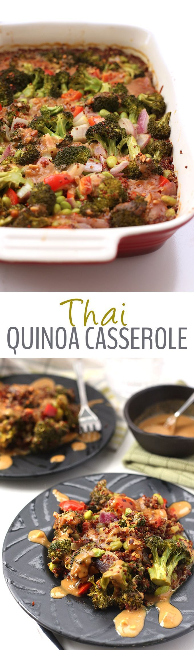 A quick and easy one-pan meal, this Thai Quinoa Casserole makes a flavorful vegetarian dinner recipe for the whole family. Topped with a zesty peanut sauce, your weekday dinners are officially complete!